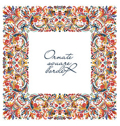 Big colorful ornate frame hand draw floral vector