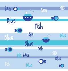 Blue Seamless fish pattern vector image vector image