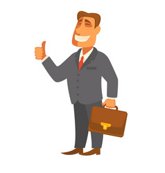 Businessman man with file bag in hand flat vector