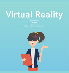 busineswomen use virtual reality web page concept vector image vector image