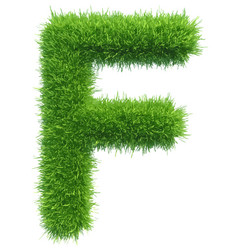 Capital letter f from grass on white vector