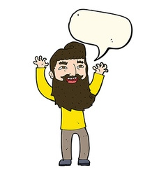 Cartoon happy bearded man waving arms with speech vector
