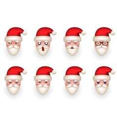 Christmas santa claus avatar smile emoticon icons vector