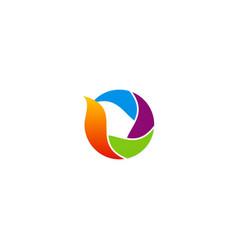 Circle colorful media technology logo vector
