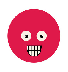 Colorful emoticon surprised face expression vector