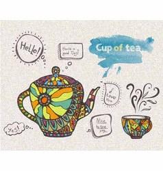 decorative sketch of cup of coffee vector image vector image
