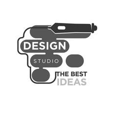 design studio emblem vector image vector image