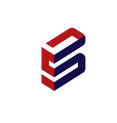 Elegant letter s 3d flat concept vector