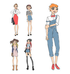 Fashion look girl beautiful girl woman female vector