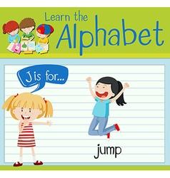 Flashcard alphabet j is for jump vector
