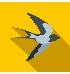 Flying swallow bird icon flat style vector image