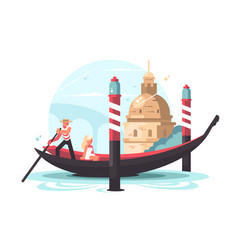 Gondolier transports woman in gondola vector