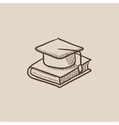 Graduation cap laying on book sketch icon vector image