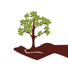 Hand human with tree plant vector