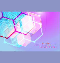 Hexagon abstract translucent colors vector