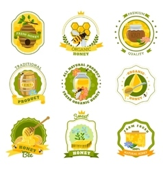 Honey Emblems Set vector image