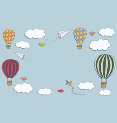 Hot air baloons banner vector