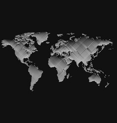 Isolated black color worldmap of lines background vector
