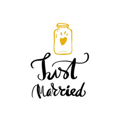 Just married calligraphy for design vector