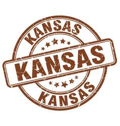 Kansas brown grunge round vintage rubber stamp vector