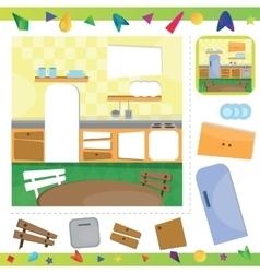 Kitchen interior puzzle vector image vector image