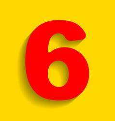 Number 6 sign design template element red vector