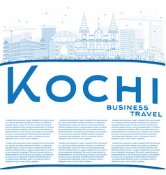 Outline kochi skyline with blue buildings and vector