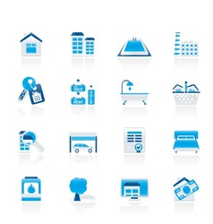 real estate objects and icons vector image vector image