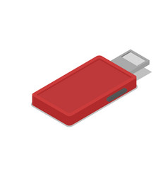 red usb drive isometric 3d icon vector image vector image