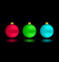 Self-illuminated Christmas balls on black vector image vector image