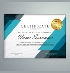Stylish certificate of appreciation award design vector