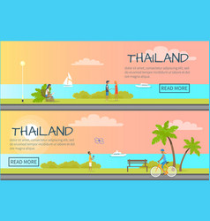 thailand people relaxing colourful web banner vector image vector image