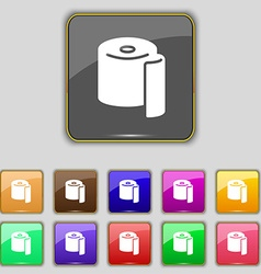 Toilet paper icon sign set with eleven colored vector