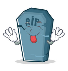 Tongue out tombstone character cartoon object vector