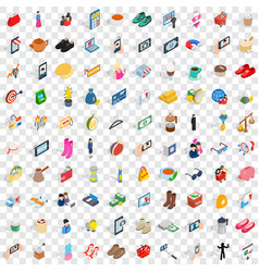 100 girl icons set isometric 3d style vector