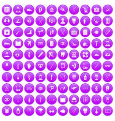 100 medical treatmet icons set purple vector