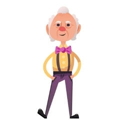 Fancy old man with bow on neck vector