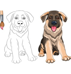 Coloring book of funny puppy german shepherd vector