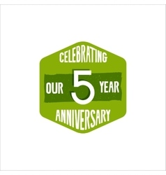 Celebrating 5 year anniversary badge sign and vector