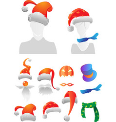 Christmas and halloween decorations vector