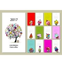 Icecream collection calendar 2017 design vector