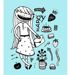 Cute girl happy tea party with design elements vector