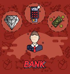 bank flat icons set vector image
