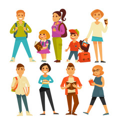 People of various ages with books and bags vector