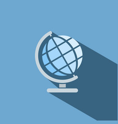 Globe icon with shade on blue background vector