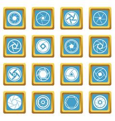 Photo diaphragm icons azure vector