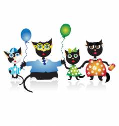 cartoon family cats vector image