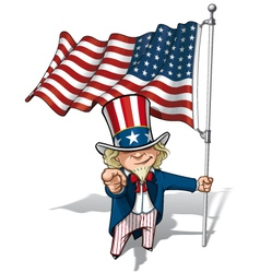 Uncle Sam I Want You US WWI WWII 48 Star Flag vector image
