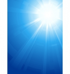 Blue sky with glaring sun vector