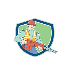 Construction worker jackhammer shield cartoon vector